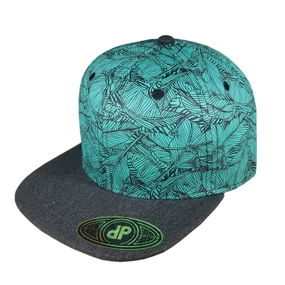Banana-Leaf-Feather-Mint-Black-Denim-Snapback-Flatbill-Hat-Cap