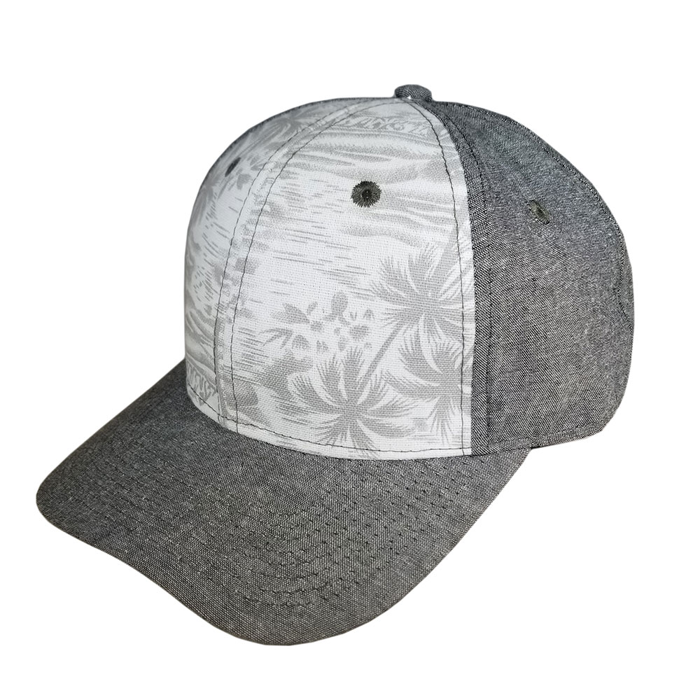Denim-Brown-Floral-Snapback-Curved-Bill-Hat-Cap