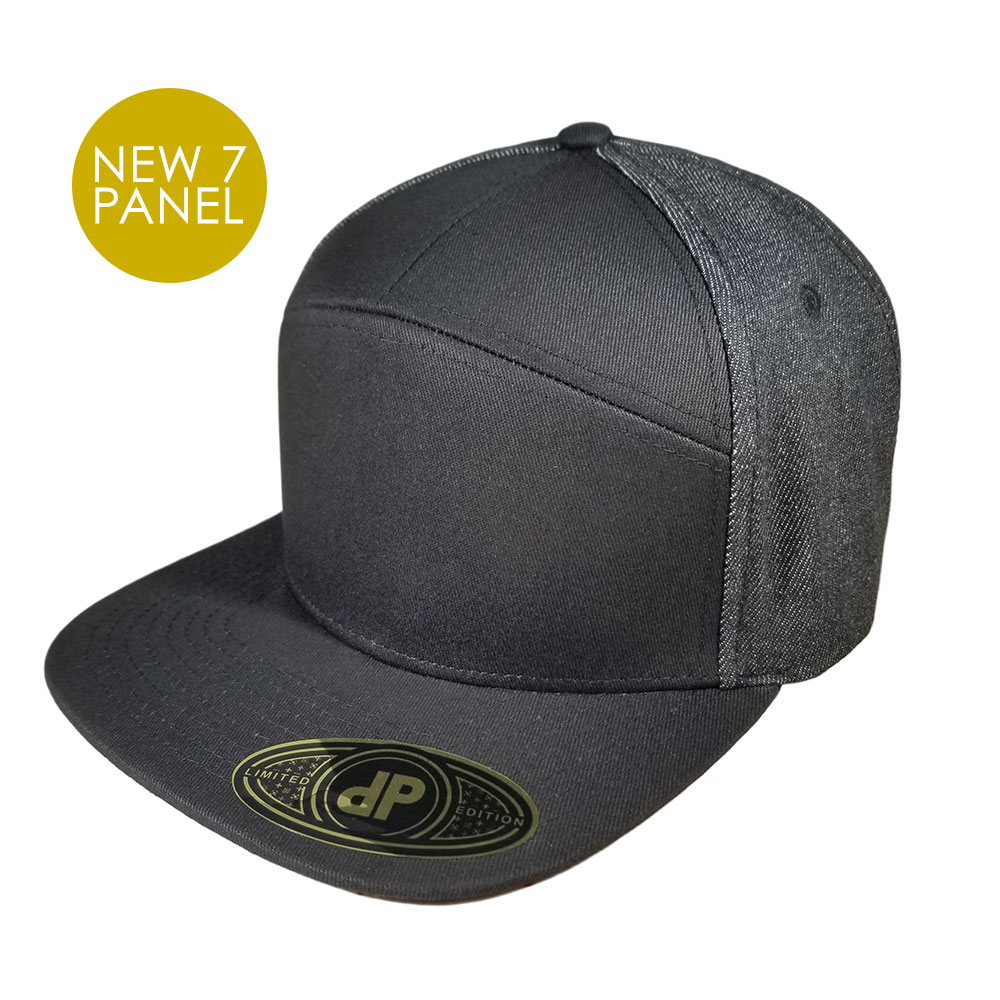 7-Seven-Panel-Black-Denim-Snapback-Hat