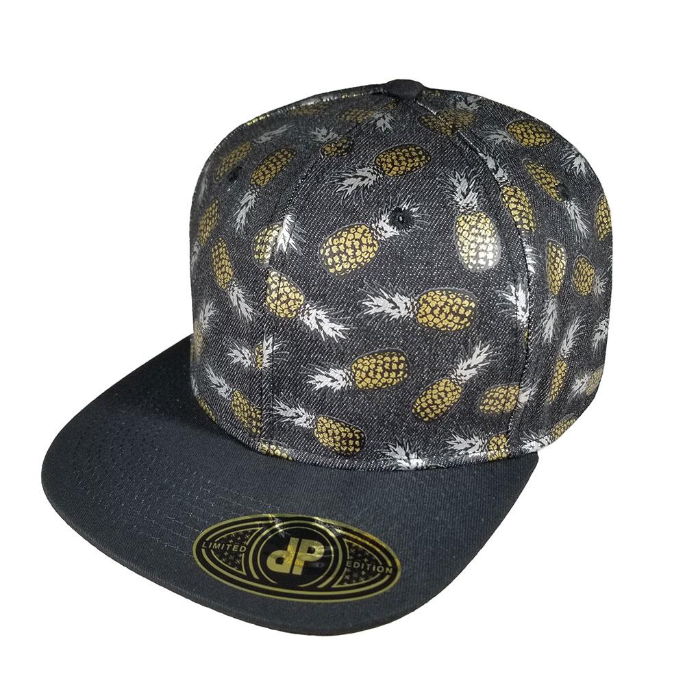 Pineapple-Metallic-Silver-Gold-Black-Denim-Snapback-Flatbill-Bill-Hat-Cap