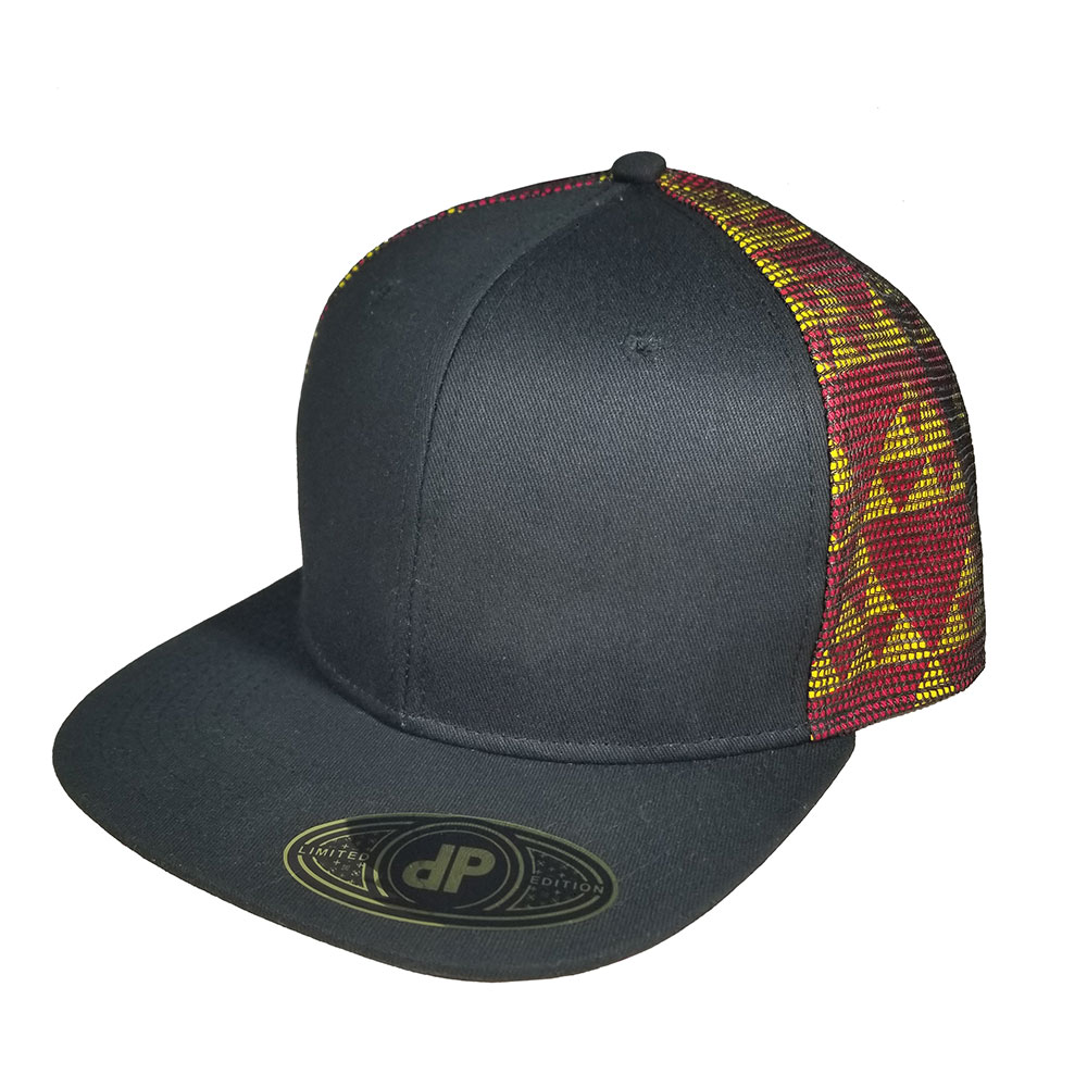Black-Triangles-Red-Yellow-Mesh-Over-Snapback-Curved-Bill-Hat-Cap
