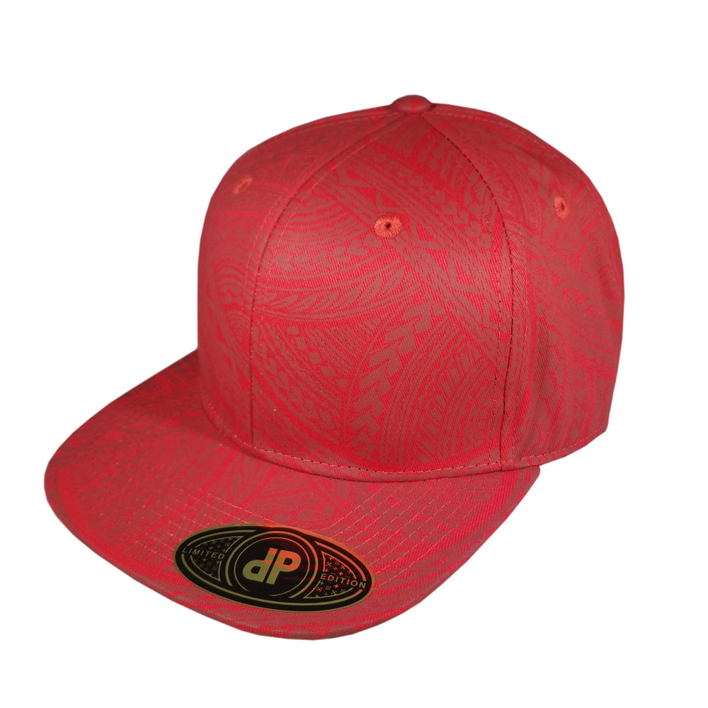 Full-Red-Burgundy-Maroon-Tribal-Snapback-Flatbill-Hat-Cap