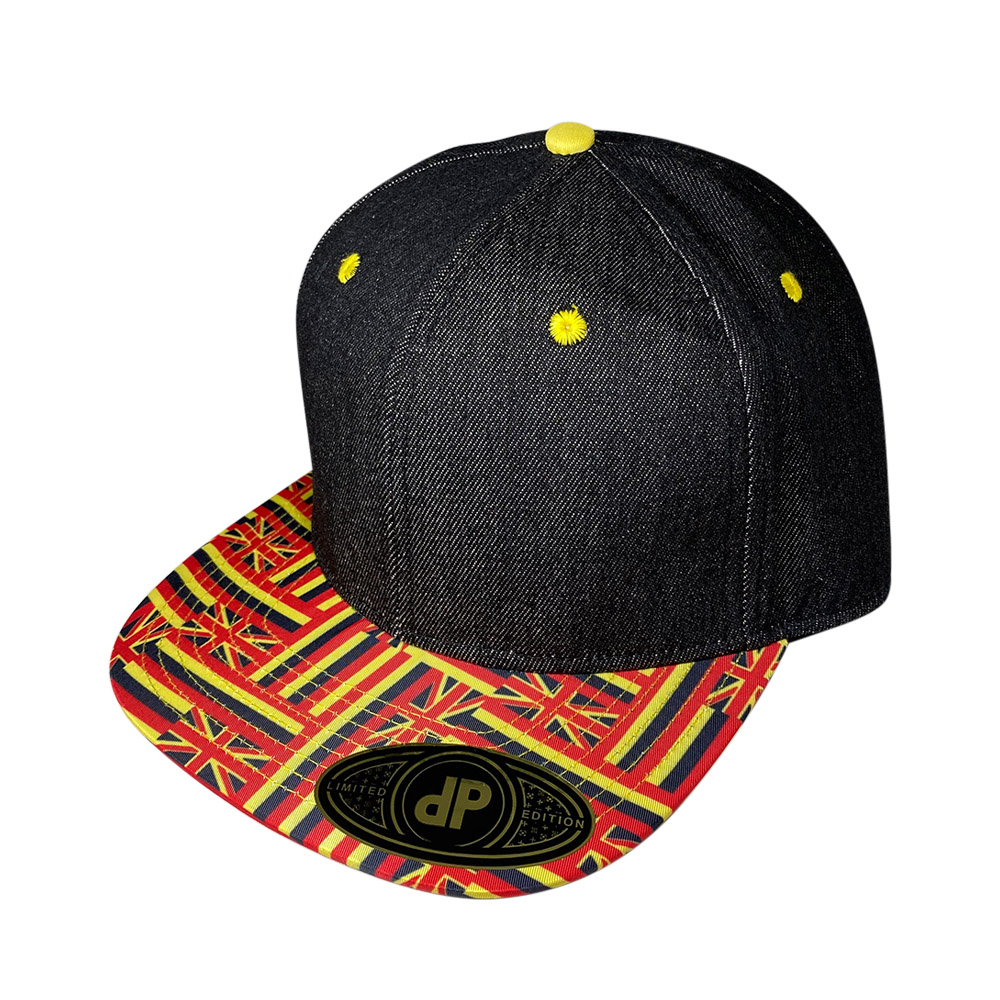 blank-hat-snapback-flat-bill-black-denim-yellow-hawaiian-flag-bill