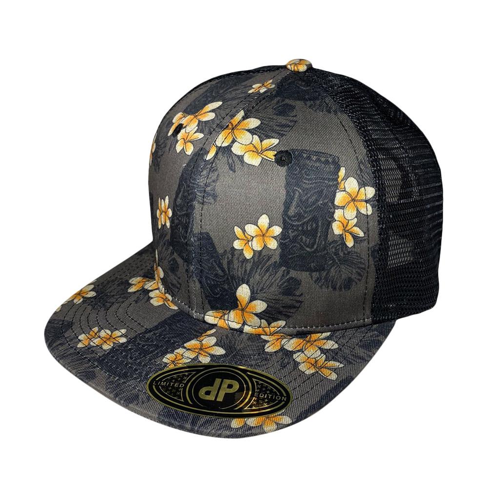 blank-hat-snapback-flat-bill-hawaiian-tiki-black-mesh