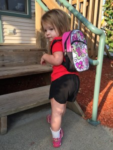 First day of preschool; we must wear the bookbag like S10 does, of course