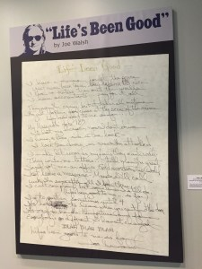 Blown up lyrics to 'Life's Been Good,' at the Rock and Roll Hall of Fame in Cleveland.