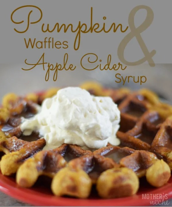 pumpkin waffles and apple cider syrup