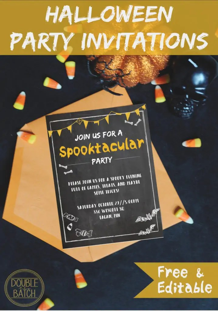 Free and editable Halloween party invitations!