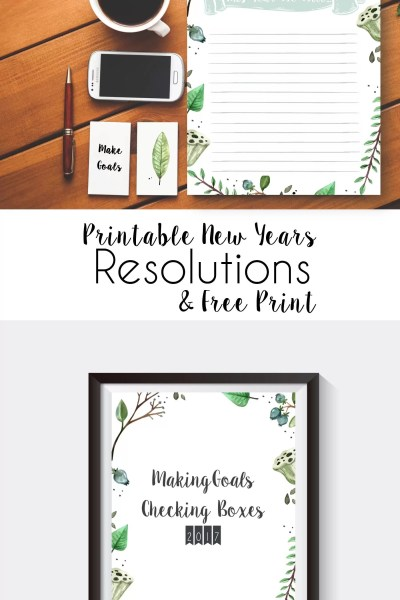 Printable New Years Resolution And Matching Office Print
