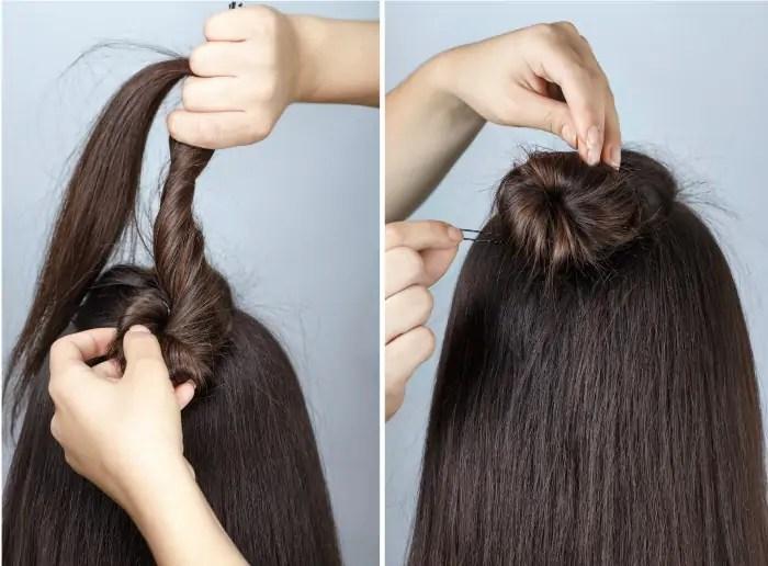 Twisted bun half braid tutorial