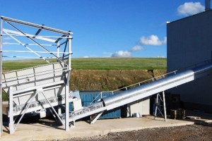 Discharging and batching conveyors