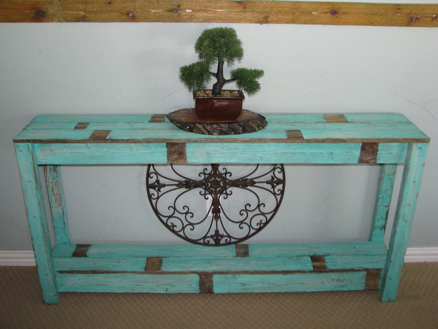 rustic cream sofa table murphy bed mechanism in farmhouse aqua