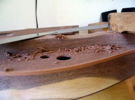 Side view of the strum hollow during carving