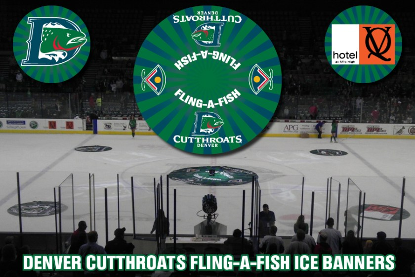 """Signage for the """"Fling A Fish"""" game used at intermissions inside the Denver Coliseum for the Denver Cutthroats home games."""
