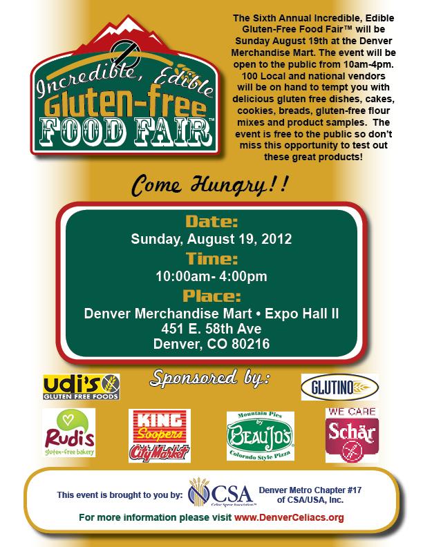 The Colorado Sprue Association's 2012 Incredible, Edible Gluten-Free Food Fair flyer I designed.