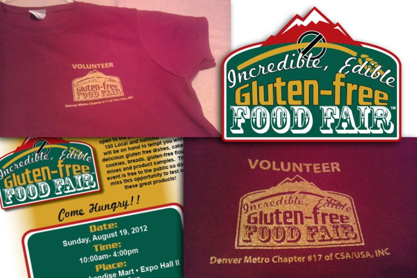 A collection of images showing some of the collateral, products and logo I designed for the 2012 Colorado Sprue Association's Incredible, Edible Gluten-Free Food Fair.