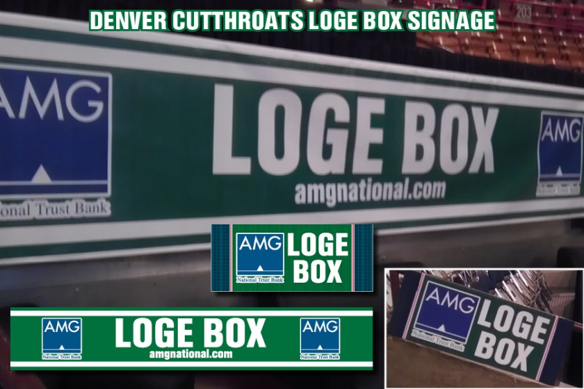 "Signage for the ""Loge Box"" suite inside the Denver Coliseum for the Denver Cutthroats home games."