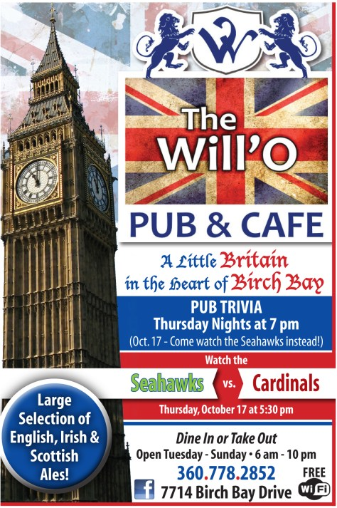 A Will'O Pub advertisement from the 2013 October 17 issue of The Northern Light.