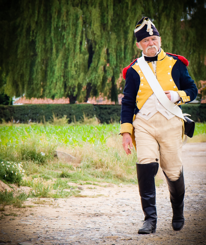 Another of the French soldiers at the Waterloo reenactment,  moves into position.