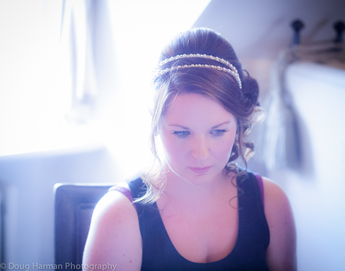Louise getting ready. The wedding of Tim and Louise Carter, Chilston Park, April 13th 2015.