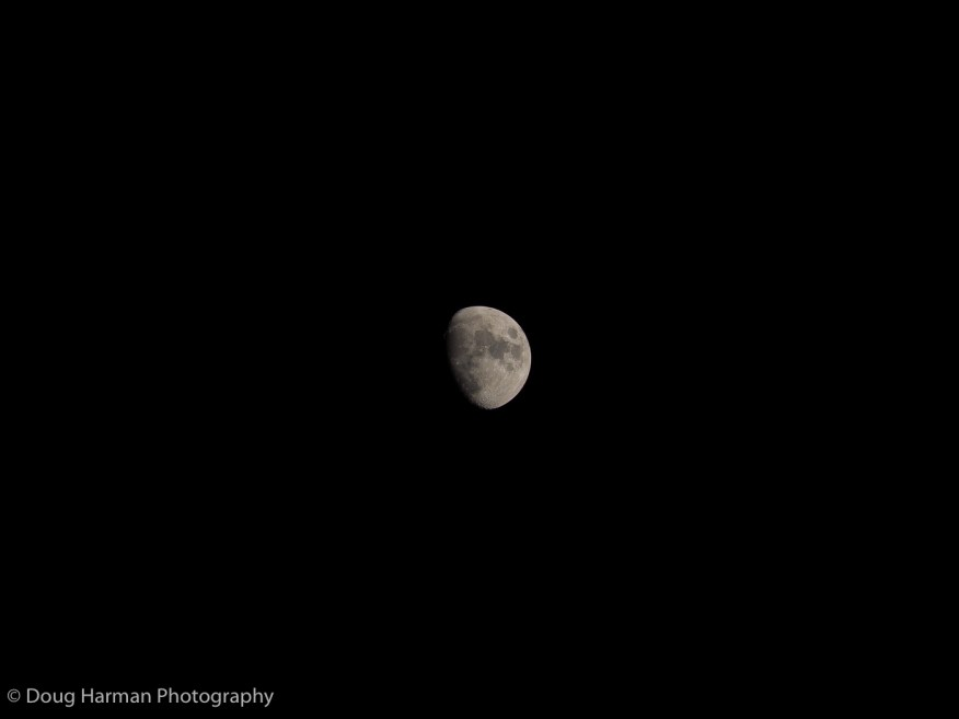 In this shot of the moon, the image if is made using the camera's full 16-megapixel resolution at the (optical) focal length of 400mm. There's plenty of detail and you can clearly see craters and lunar mountains.