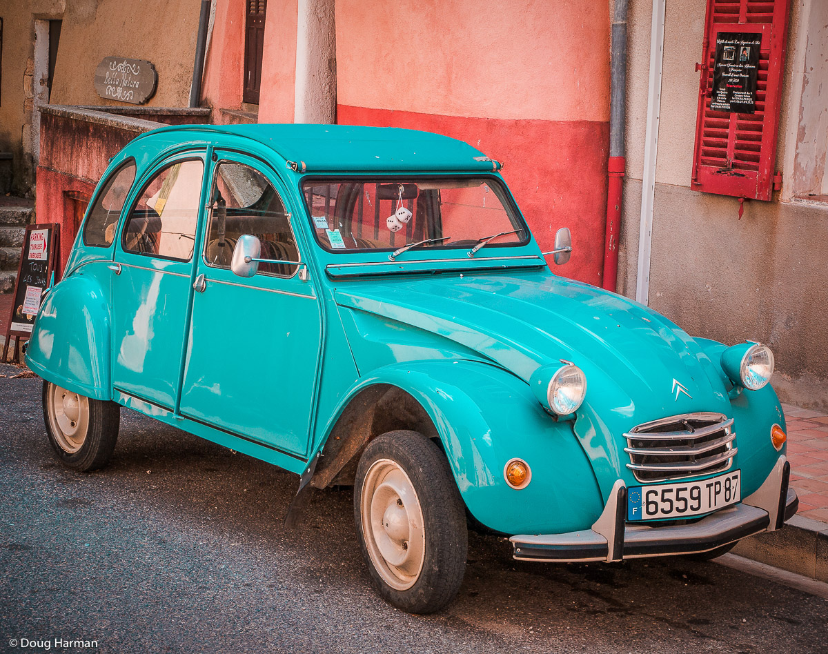 A Citroen 2CV photographed in provence near Lac St Croix.