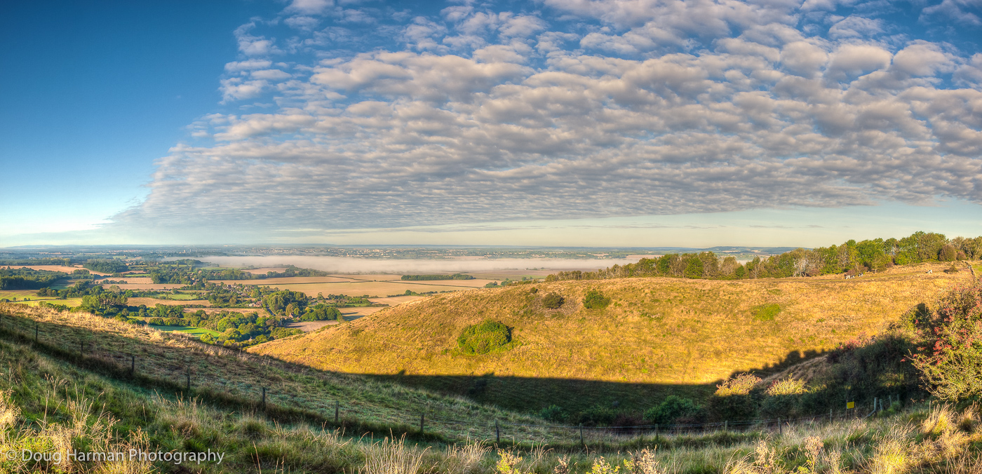 A panoramic photo of the view from Wye Downs, Kent. Photo by Doug Harman
