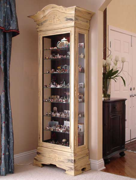 Painted Distressed Curio Cabinet