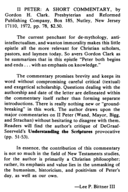 ghc review 21; ii peter, a short commentary, review, blue banner faith and life, vol 28, jan-mar, 1973, no. 1, p. 83