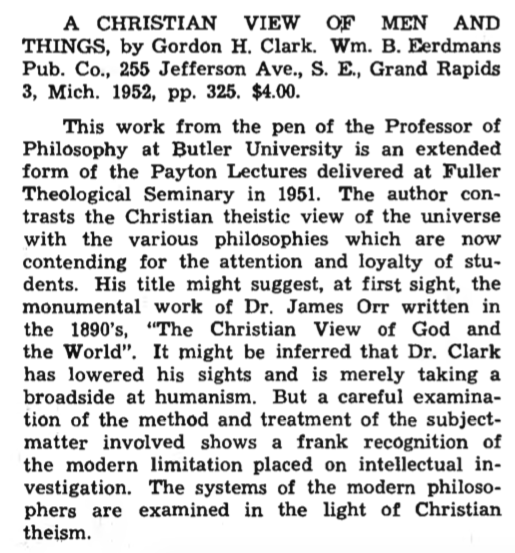 ghc review 7; a christian view of men and things, review, blue banner faith and life, vol 8, jan-mar, 1953, no. 1, p. 43.