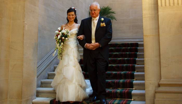 Wedding Photograph of father and bride at Heythrop Park, Oxfordshire