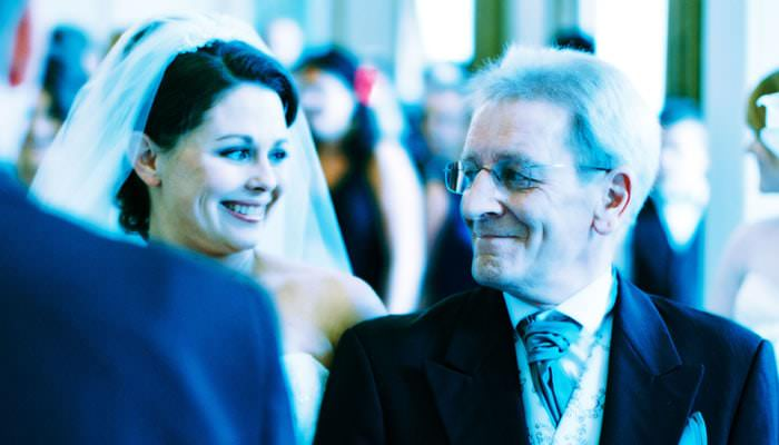 Wedding photography of bride and father at Northcote House, Ascot, Berkshire