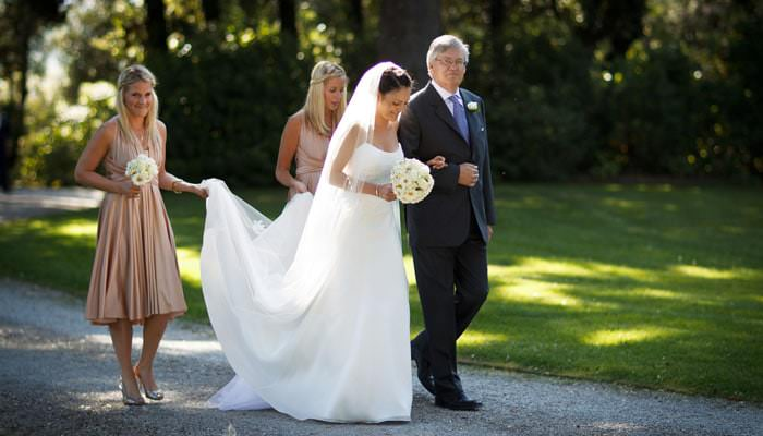 Bride and Father photograph - Tuscany, Italy