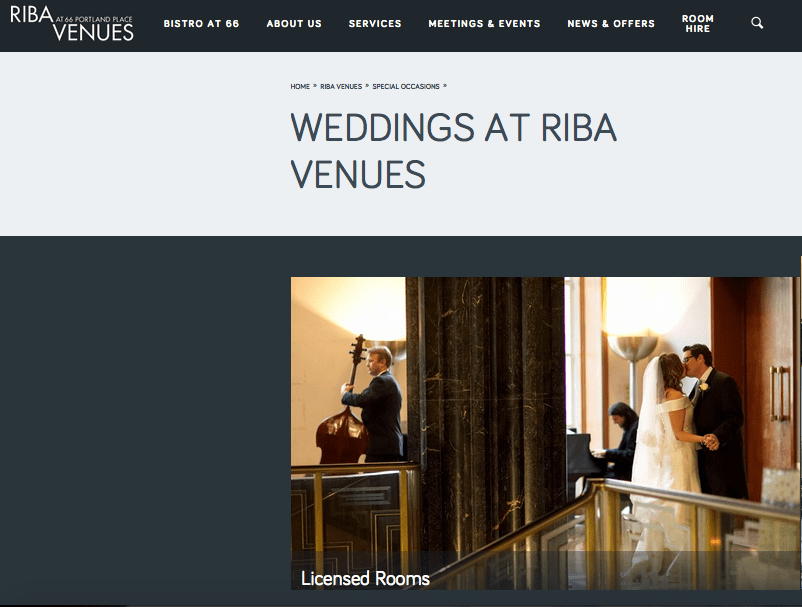 RIBA Website - Weddings Section