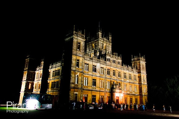 Night view of Highclere Castle during wedding reception