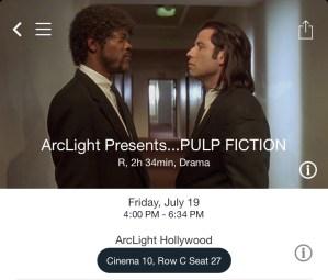 ArcLight Hollywood - Pulp Fiction (digital ticket)