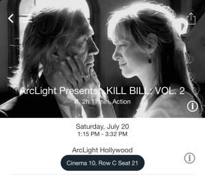 ArcLight Hollywood - Kill Bill: Vol. 2 (digital ticket)