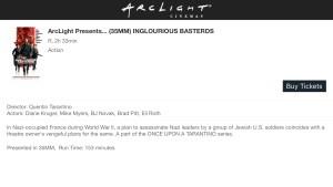 ArcLight Cinemas presets - Inglorious Basterds
