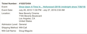 Once Upon A Time In... Hollywood - Midnight Show - Will-Call - Screenshot