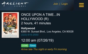 Once Upon a Time... in Hollywood - Midnight - ArcLight Cinemas - 70mm - CInerama Dome