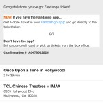 Fandango - Once Upon A TIme In... Hollywood - TCL Chinese Theatres - Confirmation Number (screenshot)