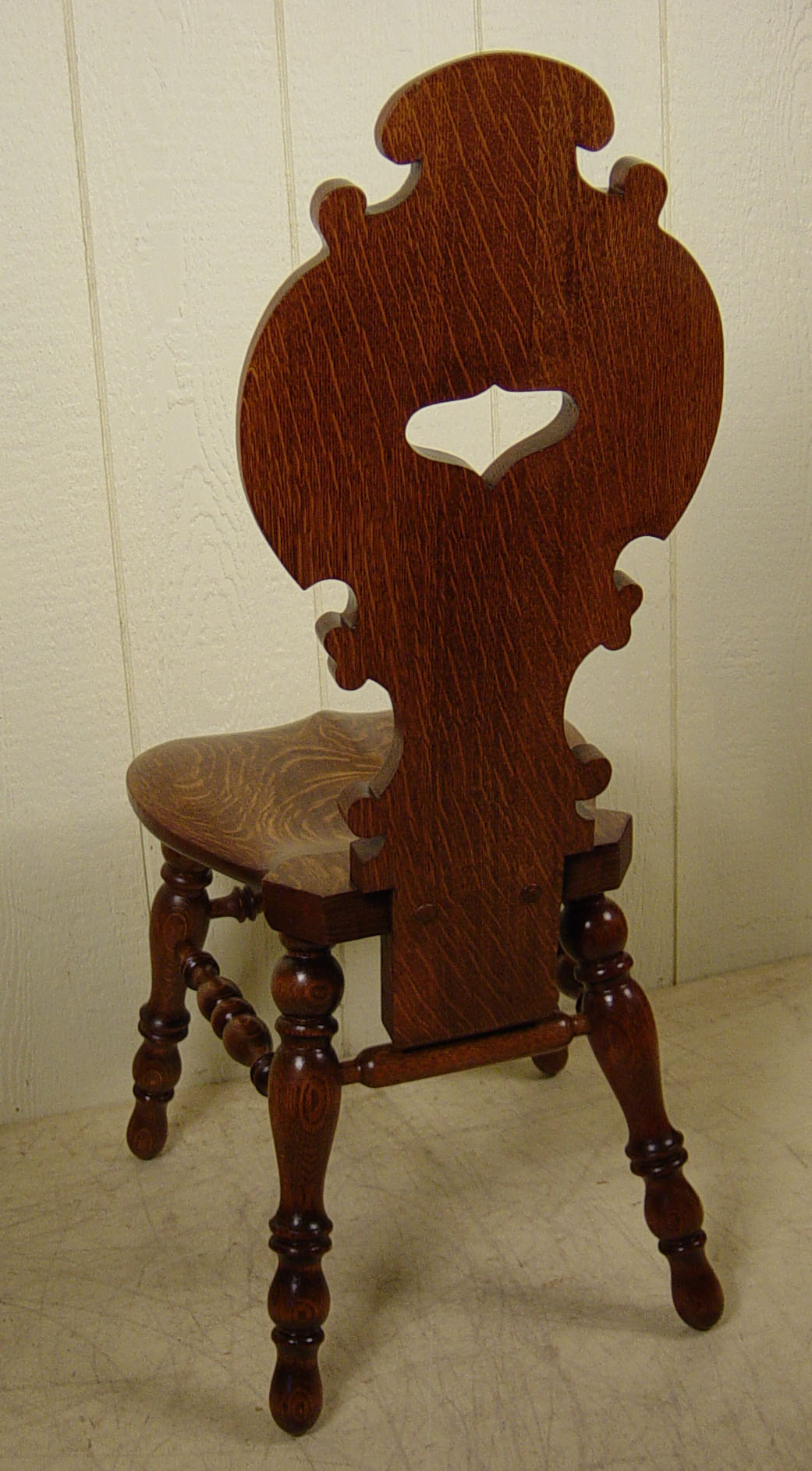 Heavily Carved Oak North Wind Desk  Slipper Chair