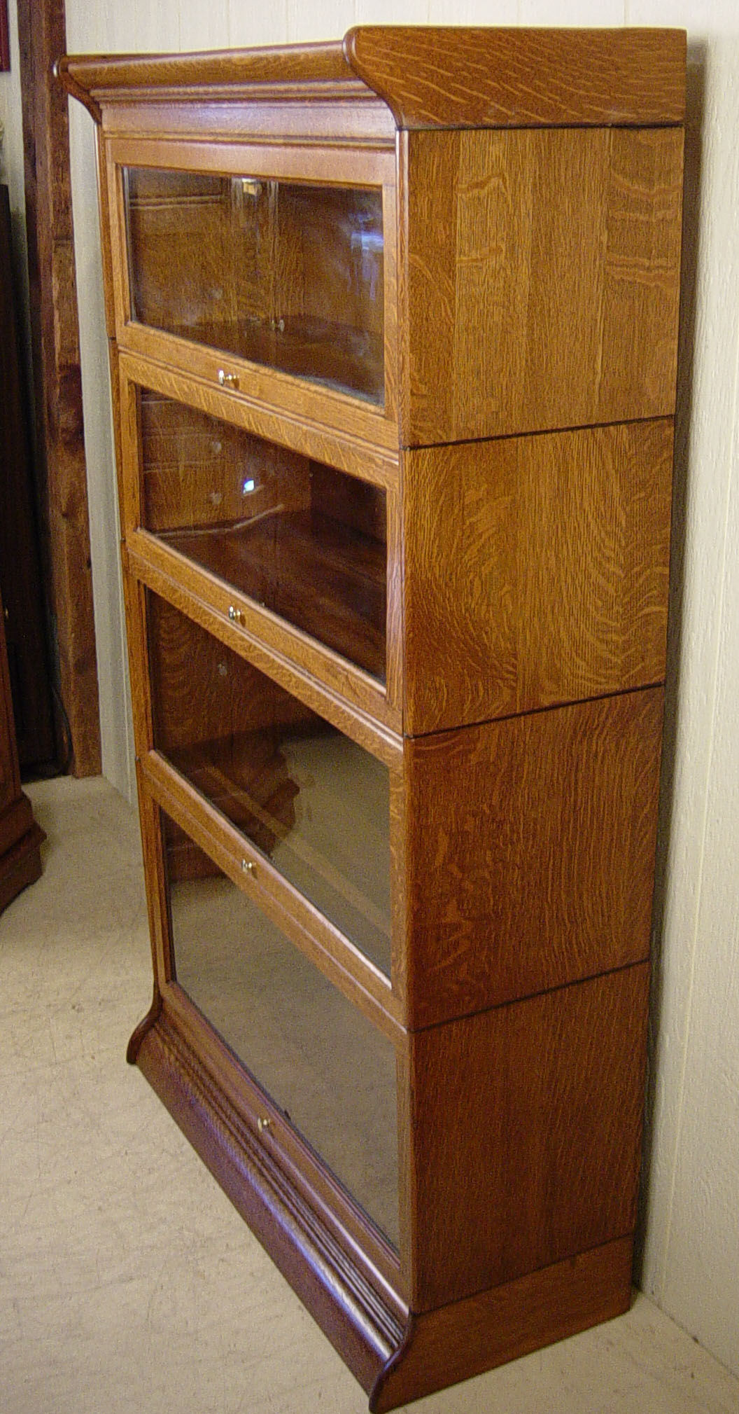 4 Section Oak Barrister Bookcase