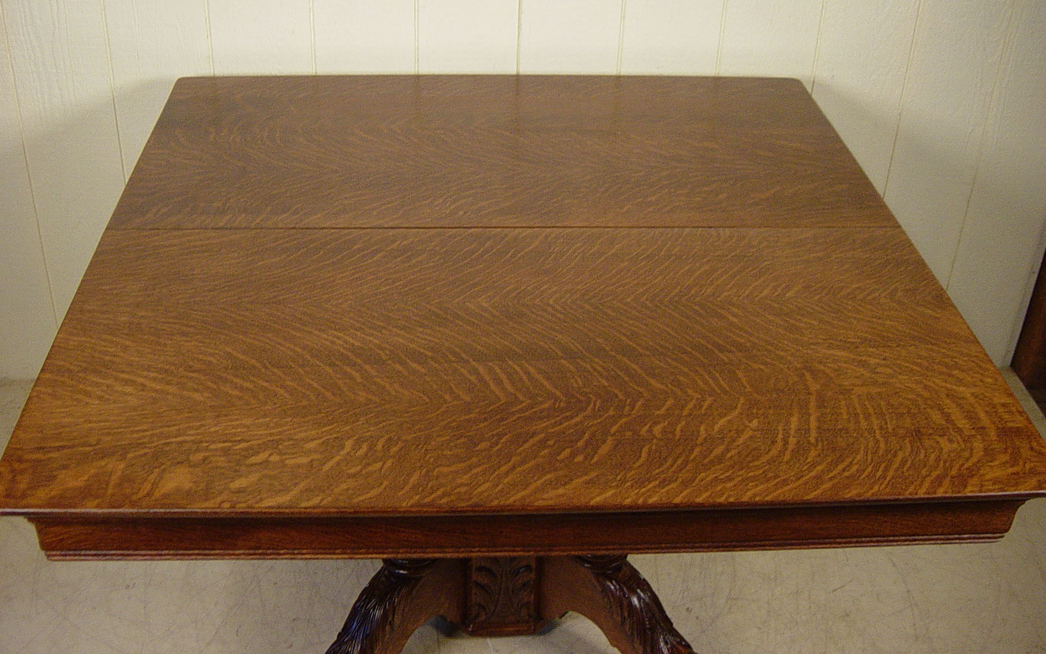 48 Square Oak Claw Foot Table with 4 12 original
