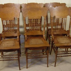 Press Back Chair Storage Ottoman Sound Set Of 6 Oak Spindle Chairs