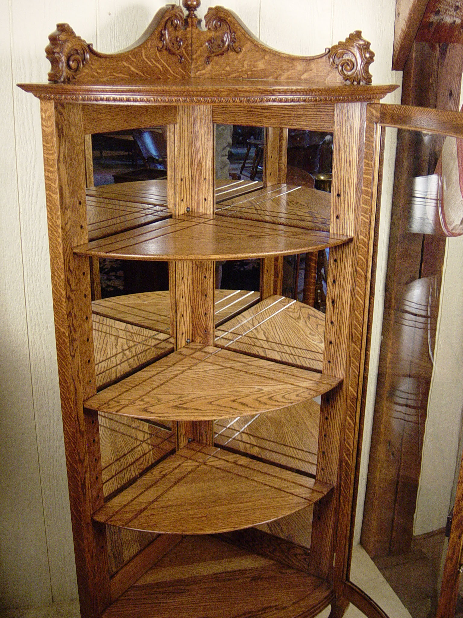 Petite Size Oak Corner China Cabinet