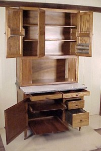 Extra Tall Oak Hoosier Cabinet