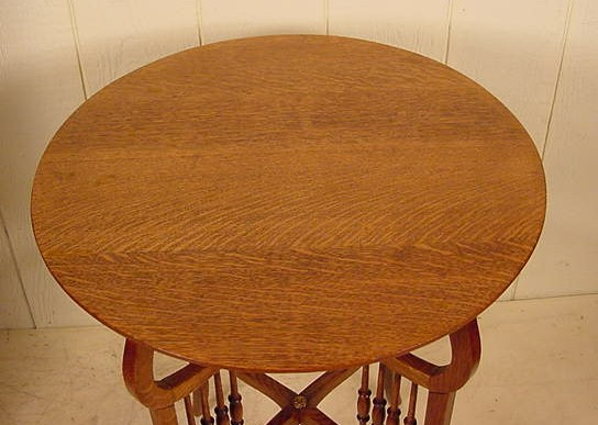 Round Oak Lamp Table  Stock 201
