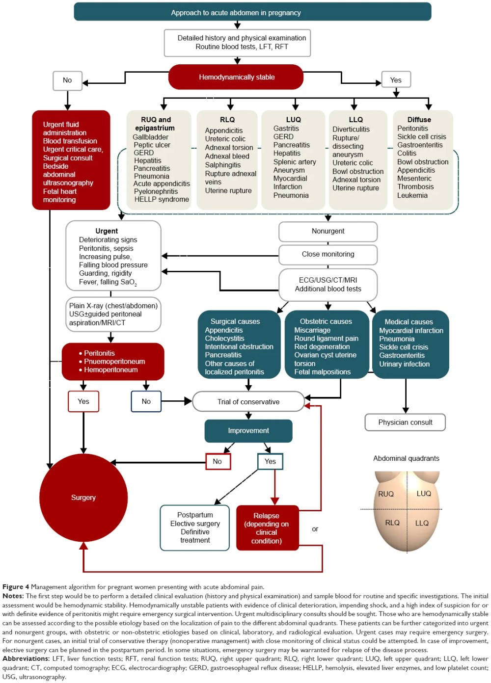 medium resolution of figure 4 management algorithm for pregnant women presenting with acute abdominal pain notes the first step would be to perform a detailed clinical