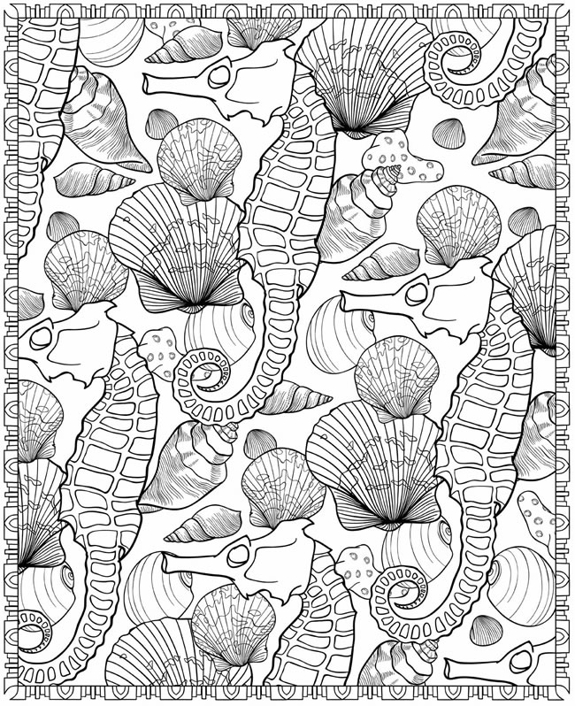 undersea seahorse pattern adult coloring page free